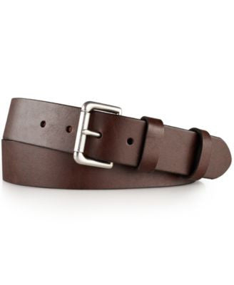 Polo Ralph Lauren Men's Big and Tall Italian Saddle Leather 1 1/2'' Roller Belt