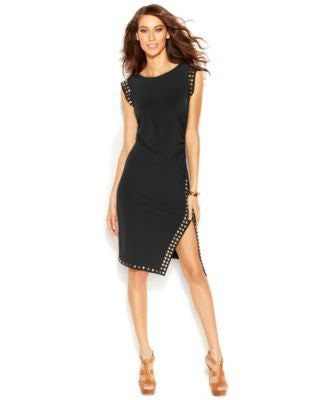 MICHAEL Michael Kors Petite Stud-Trim Side-Slit Dress