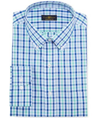 Club Room Estate Classic-Fit Wrinkle Resistant Hampton Blue Check Dress Shirt