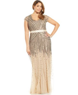 Adrianna Papell Plus Size Cap-Sleeve Beaded Sequined Gown