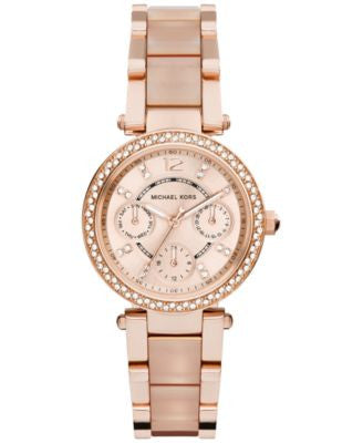 Michael Kors Women's Chronograph Mini Parker Blush and Rose Gold-Tone Stainless Steel Bracelet Watch