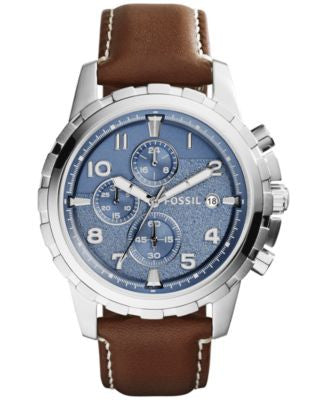 Fossil Men's Chronograph Dean Brown Leather Strap Watch 45mm FS5022