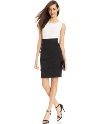 Ccnnected Lace Colorblocked Sheath Dress