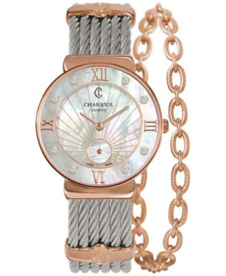 CHARRIOL Women's Swiss St-Tropez Diamond Accent Two-Tone Steel Cable Chain Bracelet Watch 30mm ST30P