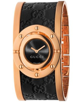 Gucci Women's Swiss Twirl Black Guccissima Leather and Rose Gold-Tone PVD Stainless Steel Bangle Bra