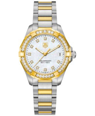 TAG Heuer Women's Swiss Aquaracer Diamond (3/5 ct. t.w.) Two-Tone Stainless Steel Bracelet Watch 32m