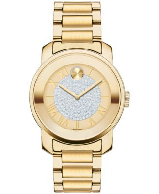 Movado Women's Swiss Bold Gold Ion-Plated Stainless Steel Bracelet Watch 32mm 3600255