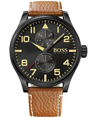 BOSS Hugo Boss Men's Chronograph Boss Black Aeroliner Maxx Brown Leather Strap Watch 50mm 1513082