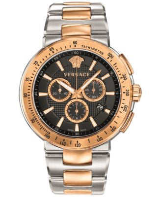 Versace Men's Swiss Chronograph Mystique Sport Two-Tone Stainless Steel Bracelet Watch 46mm VFG10001