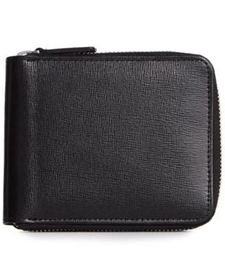 Royce Leather Italian Saffiano Zip Around Wallet with RFID Blocking Anti-Theft Technology