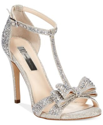 INC International Concepts Women's Reesie Rhinestone Bow Evening Sandals, Only at Vogily