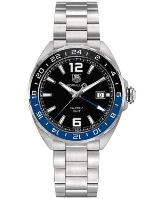 TAG Heuer Men's Swiss Automatic Formula 1 Calibre 7 GMT Stainless Steel Bracelet Watch 41mm WAZ211A.