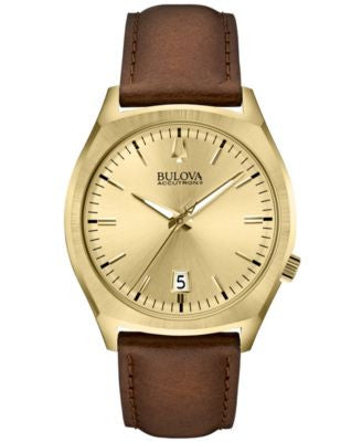 Bulova Accutron II Men's Surveyor Brown Leather Strap Watch 41mm 97B132