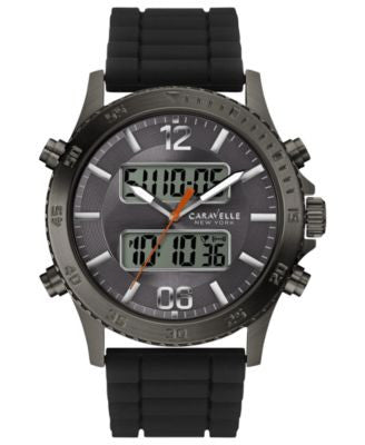 Caravelle New York by Bulova Men's Analog-Digital Chronograph Black Silicone Strap Watch 44mm 45B132