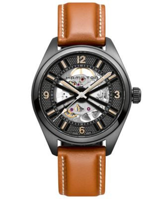 Hamilton Men's Swiss Automatic Khaki Skeleton Brown Leather Strap Watch 42mm H72585535