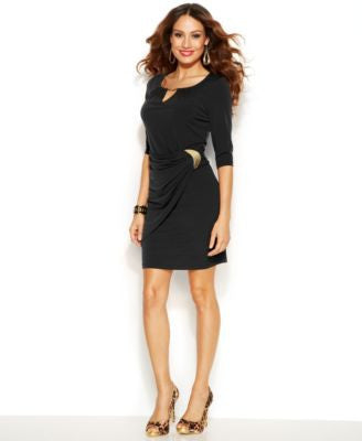 Thalia Sodi Draped Hardware Keyhole Dress