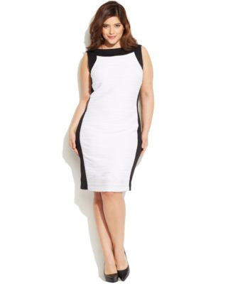 Calvin Klein Plus Size Colorblocked Textured Sheath Dress