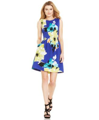 Vince Camuto Floral-Print Pleated Scuba Dress