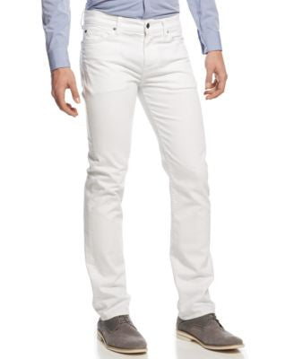 7 For All Mankind Men's Slimmy Slim Straight-Leg Jeans, White