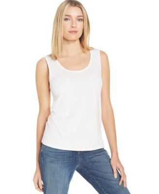 Eileen Fisher Petite Silk Scoop-Neck Tank Top
