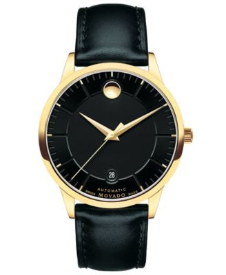 Movado Unisex Swiss 1881 Automatic Black Leather Strap Watch 40mm 0606875