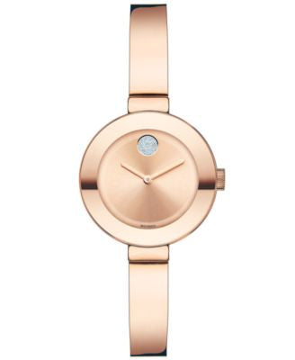 Movado Women's Swiss Bold Rose Gold Ion-Plated Stainless Steel Bangle Bracelet Watch 25mm 3600286
