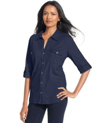 Style & Co. Petite Jersey Utility Shirt, Only at Vogily