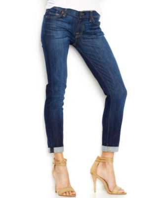 7 For All Mankind Jeans, The Skinny Crop And Roll, Nouveau NY Dark-Wash