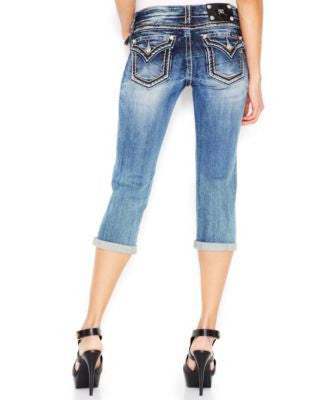 Miss Me Contrast-Stitch Cropped Jeans, Medium Blue Wash