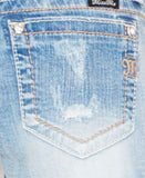 Miss Me Distressed Jean Shorts, Medium Blue Wash