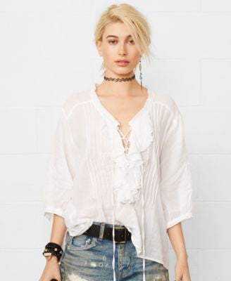 Denim & Supply Ralph Lauren Ruffled Lace-Up Top