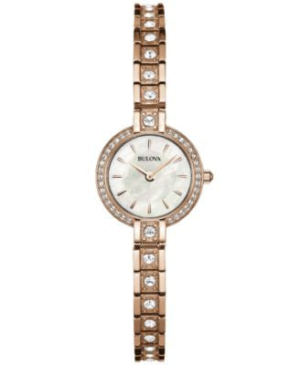 Bulova Women's Crystal Accent Rose Gold-Tone Stainless Steel Bracelet Watch 21mm 98L215