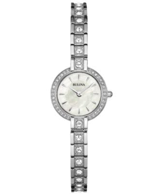 Bulova Women's Crystal Accent Stainless Steel Bracelet Watch 21mm 96L209