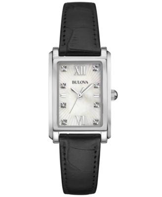 Bulova Women's Diamond Accent Black Leather Strap Watch 35x23mm 96P156