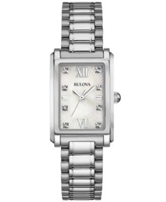 Bulova Women's Diamond Accent Stainless Steel Bracelet Watch 35x23mm 96P157