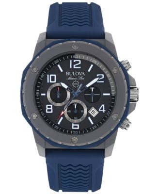 Bulova Men's Chronograph Marine Star Blue Silicone Strap Watch 44mm 98B246