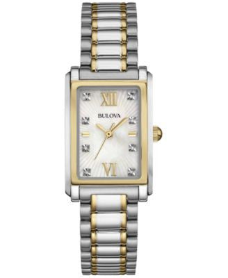 Bulova Women's Diamond Accent Two-Tone Stainless Steel Bracelet Watch 35x23mm 98P144