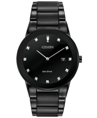 Citizen Men's Eco-Drive Axiom Diamond Accent Black Ion-Plated Stainless Steel Bracelet Watch 40mm AU