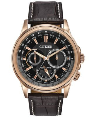 Citizen Men's Eco-Drive Calendrier Brown Leather Strap Watch 44mm BU2023-04E