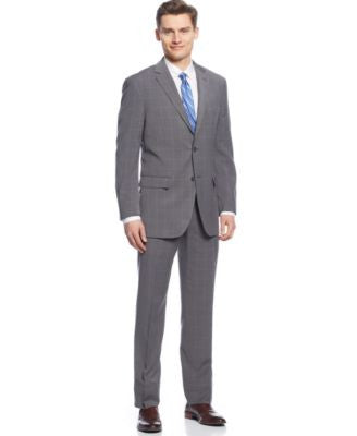 Perry Ellis Grey Plaid Slim-Fit Suit