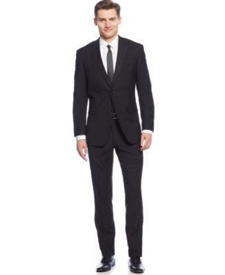 Perry Ellis Black Mini-Check Slim-Fit Suit