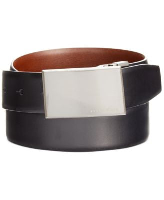 Perry Ellis Men's Leather Reversible Feather-Edge Smooth-Grain Belt