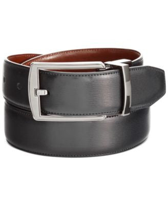 Perry Ellis Men's Leather Big & Tall Reversible Feather Stitch-Edge Belt