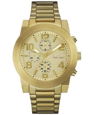 Caravelle New York by Bulova Men's Chronograph Gold-Tone Stainless Steel Bracelet Watch 44mm 44A105
