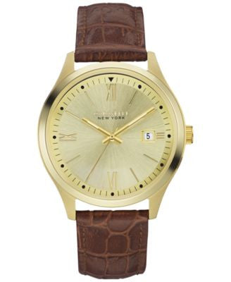 Caravelle New York by Bulova Men's Brown Leather Strap Watch 41mm 44B109