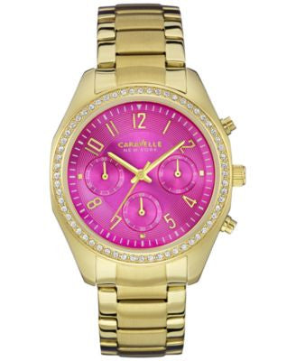 Caravelle New York by Bulova Women's Chronograph Gold-Tone Stainless Steel Bracelet Watch 36mm 44L16