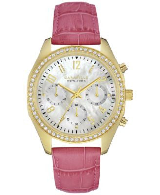 Caravelle New York by Bulova Women's Chronograph Pink Leather Strap Watch 36mm 44L169