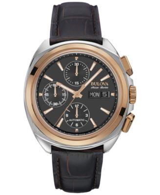 Bulova AccuSwiss Men's Automatic Chronograph Telc Brown Leather Strap Watch 43mm 65B167