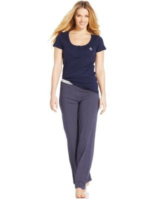 Tommy Hilfiger Basic Henley Top and Basic Dot Pajama Pants