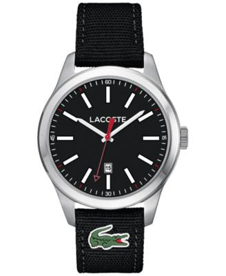 Lacoste Men's Auckland Black Nylon Canvas Strap Watch 44mm 2010778
